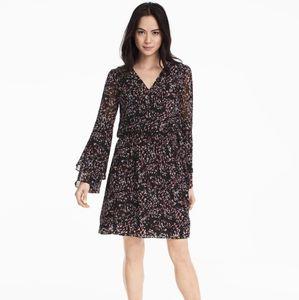 WHBM Black Scattered Print Boho Long Sleeve Dress